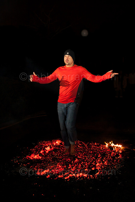 Firewalking at Fray Luis de Leon Conventions Center, Guadarrama, Spain.