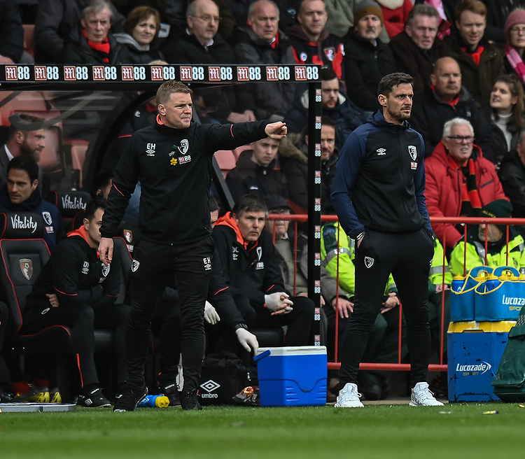 Bournemouth manager Eddie Howe (left) and assistant manager Jason Tindall (right) <br /> <br /> Photographer David Horton/CameraSport<br /> <br /> The Premier League - Bournemouth v Newcastle United - Saturday 16th March 2019 - Vitality Stadium - Bournemouth<br /> <br /> World Copyright © 2019 CameraSport. All rights reserved. 43 Linden Ave. Countesthorpe. Leicester. England. LE8 5PG - Tel: +44 (0) 116 277 4147 - admin@camerasport.com - www.camerasport.com