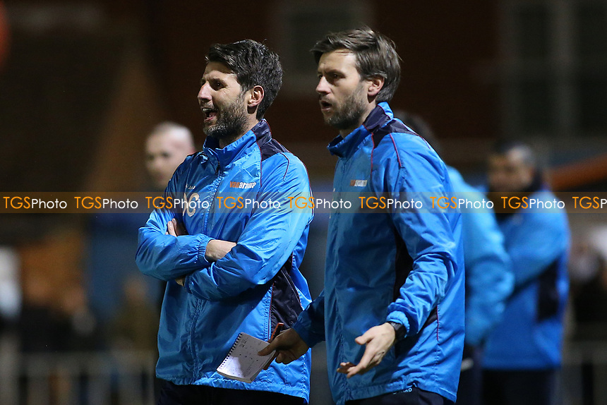 Lincoln City manager Danny Cowley (L) and assistant Nicky during Braintree Town vs Lincoln City, Vanarama National League Football at the IronmongeryDirect Stadium on 7th March 2017