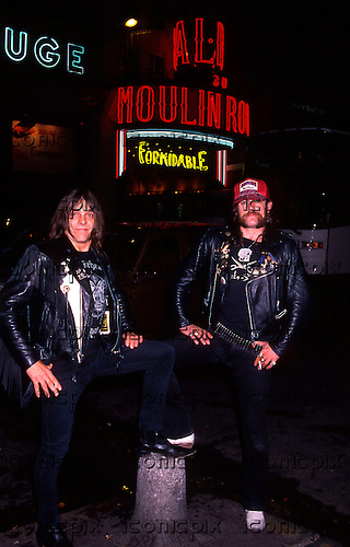 Motorhead - Lemmy and Wurzel having fun on a night out in the red light district of Paris France - 17 Sep 1988 - Photo by: George Chin