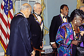"Former ""Tonight Show"" host Johnny Carson, second left, with other recipients of the 16th Annual Kennedy Center Honors, after posing for a group photo following a dinner at the United States Department of State in Washington, D.C. on Saturday, December 4, 1993.  Also pictured: conductor Georg Solti, left, Arthur Mitchell, founder of the Dance Theatre of Harlem, right center, Arthur Mitchell, founder of the Dance Theatre of Harlem, right center, and gospel singer Marion Williams, right.  The 1993 honorees are: Johnny Carson, Arthur Mitchell, Georg Solti Stephen Sondheim and Marion Williams.<br /> Credit: Greg E. Mathieson / Pool via CNP"