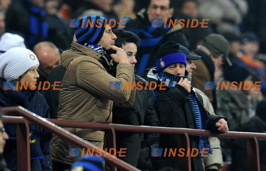 """fischi da parte dei dei tifosi interisti (Inter).Milano 17/02/2012 Stadio """"Giuseppe Meazza"""".Serie A 2011/2012.Football Calcio Inter Vs Bologna.Foto Insidefoto Alessandro Sabattini."""
