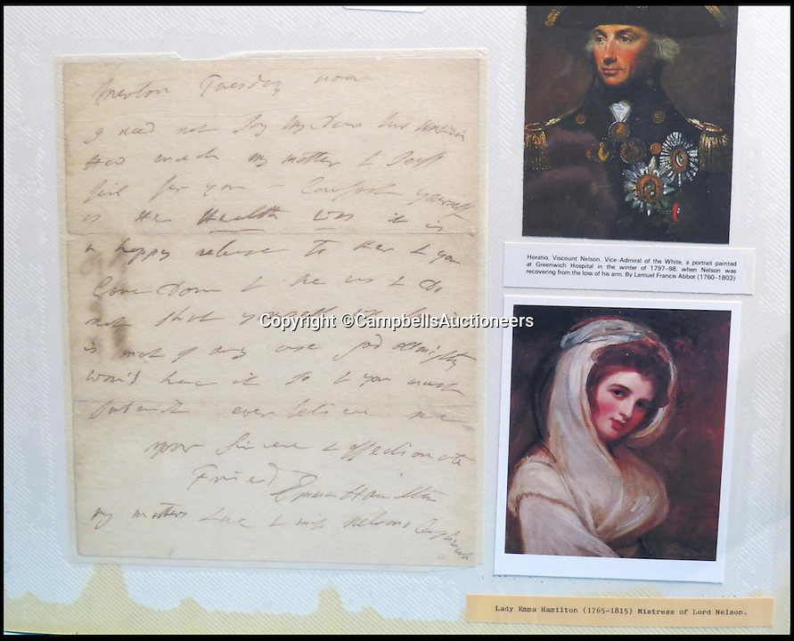 BNPS.co.uk (01202 558833)<br /> Pic: CampbellsAuctioneers/BNPS<br /> <br /> Hand-written letter from Lady Emma Hamilton.<br /> <br /> A magnificent collection of more than 1,000 signatures and letters from iconic historical figures including the Duke of Wellington, Picasso and Sir Winston Churchill have emerged for auction.<br /> <br /> The collection, which spans 300 years, was amassed by the late animal rights campaigner Jon Evans who meticulously framed or put the signatures in albums.<br /> <br /> Other famous figures in his collection include Charles Dickens, Sir Edmund Hilary, Mahatma Gandhi, Neil Armstrong, Lord Kitchener, Rudyard Kipling and Margaret Thatcher.<br /> <br /> The extensive array of documents is now expected to fetch &pound;30,000 at Campbells Auctioneers tomorrow (Tues).