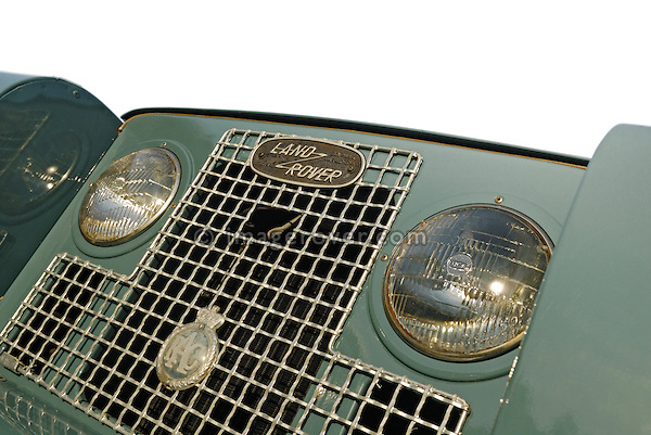 Close up of a freshly restored 1968 Land Rover Series 2a front with an age related black UK number plate. Europe, UK, England. --- No releases available. Automotive trademarks are the property of the trademark holder, authorization may be needed for some uses.