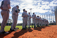 Dartmouth Big Green during the national anthem before a game against the Omaha Mavericks on February 23, 2020 at North Charlotte Regional Park in Port Charlotte, Florida.  Dartmouth defeated Omaha 8-1.  (Mike Janes/Four Seam Images)