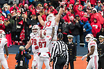 Wisconsin Badgers teammate Quintez Cephus (87) celebrates offensive lineman Michael Deiter (63) rushing touchdown during an NCAA College Big Ten Conference football game against the Illinois Fighting Illini Saturday, October 28, 2017, in Champaign, Illinois. The Badgers won 24-10. (Photo by David Stluka)
