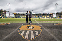 Media Manager Matt Cecil & Wycombe Wanderers Manager Gareth Ainsworth talk ahead of the match during the Sky Bet League 2 match between Notts County and Wycombe Wanderers at Meadow Lane, Nottingham, England on 28 March 2016. Photo by Andy Rowland.