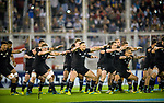 September 29, 2018. Jose Amalfitani, Buenos Aires, Argentina.  All Blacks performs the traditional Haka against Pumas.