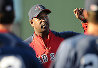 Manager Billy McMillon (51) of the Greenville Drive, Class A affiliate of the Boston Red Sox, talks with his team during its first workout on April 5, 2011, at Fluor Field at the West End in Greenville, S.C. Photo by: Tom Priddy / Four Seam Images