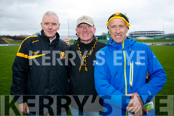 Enda Walsh, Maurice Laide and Niall Keogh, pictured at the Garvey's Senior Football Championship, Dr Crokes v South Kerry, at the Austin Stack Park, Tralee on Sunday last.