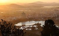 MADAGASCAR city Antananarivo , city view from royal palace complex to lake Lac Anosy  /MADAGASKAR Hauptstadt Antananarivo, Blick vom koeniglichen Palast auf die Stadt und den See Lac Anosy