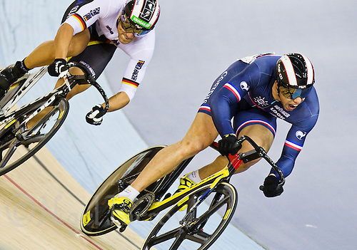19 FEB 2012 - LONDON, GBR - France's Kevin Sireau (FRA) (on the right) leads Germany's Maximilian Levy (GER) during their Men's Sprint semi final at the UCI Track Cycling World Cup and London Prepares test event for the 2012 Olympic Games in the Olympic Park Velodrome in Stratford, London, Great Britain .(PHOTO (C) 2012 NIGEL FARROW)