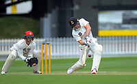 Wellington's Logan Van Beek bats during day two of the Plunket Shield cricket match between the Wellington Firebirds and Canterbury at Basin Reserve in Wellington, New Zealand on Wednesday, 30 October 2019. Photo: Dave Lintott / lintottphoto.co.nz