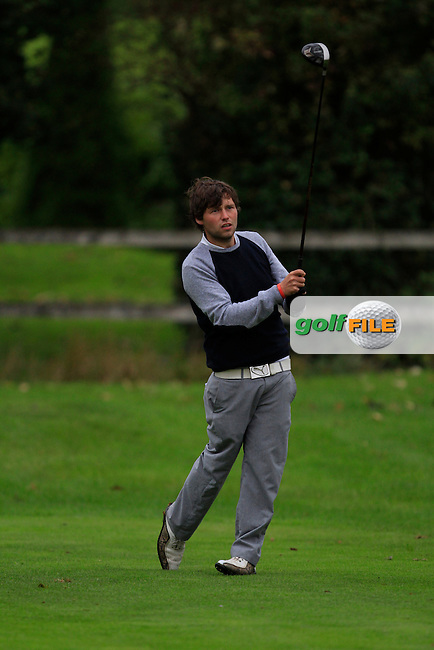 Neil O'Briain (Old Conna G.C) on the 3rd tee during Round 4 of The Cassidy Golf 103rd Irish PGA Championship in Roganstown Golf Club on Sunday 13th October 2013.<br /> Picture:  Thos Caffrey / www.golffile.ie