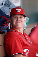 Washington Nationals Jake Randa (24) in the dugout during an Instructional League game against the Miami Marlins on September 25, 2019 at Roger Dean Chevrolet Stadium in Jupiter, Florida.  (Mike Janes/Four Seam Images)