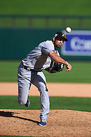 Salt River Rafters pitcher Brady Dragmire (33) delivers a pitch during an Arizona Fall League game against the Surprise Saguaros on October 20, 2015 at Salt River Fields at Talking Stick in Scottsdale, Arizona.  Surprise defeated Salt River 3-1.  (Mike Janes/Four Seam Images)