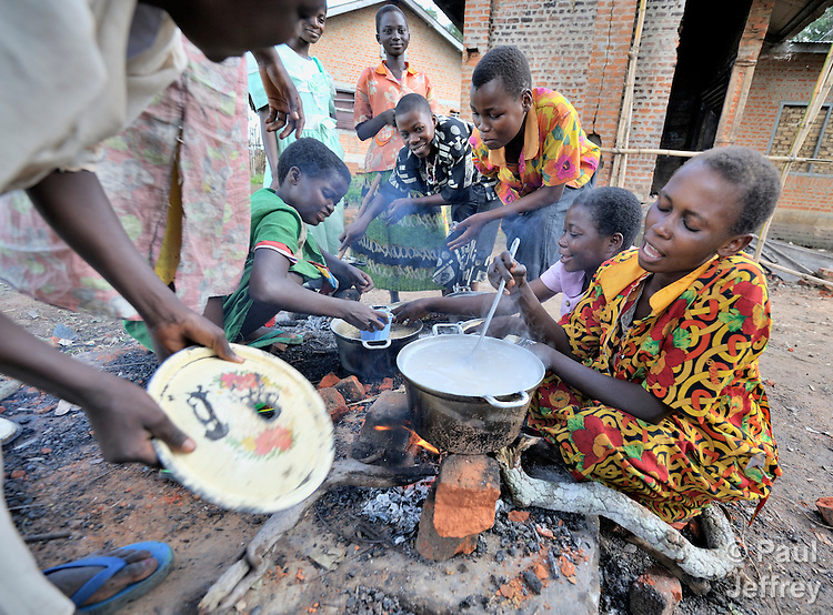 In the Congolese village of Minga, girls who've come from even more remote villages to study at a United Methodist school live together in a common building and share cooking tasks.