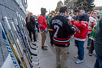 A memorial of 15 hockey sticks to the players and staff.<br /> <br /> An estimated crowd of around 200 (Point Edward OPP) turned out for a candle light vigil to remember 15 players and management of the Humboldt Broncos hockey team killed in a bus crash in Saskatchewan.