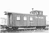 3/4 view if caboose #0584 with windows boarded up.<br /> D&amp;RGW