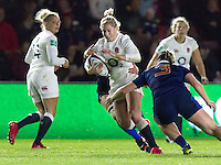 Natasha Hunt in action, England Women v France Women in an Old Mutual Wealth Series, Autumn International match at Twickenham Stoop, Twickenham, England, on 9th November 2016. Full Time score 10-5