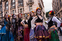 Mexico, Mexico City. Day of the Dead, Dia de los Muertos. Girls with painted faces.