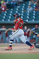 Carlos Paraguate (16) of the Rome Braves follows through on his swing against the Columbia Fireflies at Segra Park on May 13, 2019 in Columbia, South Carolina. The Fireflies walked-off the Braves 2-1 in game one of a doubleheader. (Brian Westerholt/Four Seam Images)