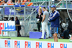 The Hague, Netherlands, June 14: Head coach Carlos Retegui of Argentina looks on during the field hockey bronze medal match (Women) between USA and Argentina on June 14, 2014 during the World Cup 2014 at Kyocera Stadium in The Hague, Netherlands. Final score 2-1 (2-1)  (Photo by Dirk Markgraf / www.265-images.com) *** Local caption ***