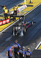 Mar. 16, 2013; Gainesville, FL, USA; NHRA top fuel dragster driver Pat Dakin during qualifying for the Gatornationals at Auto-Plus Raceway at Gainesville. Mandatory Credit: Mark J. Rebilas-