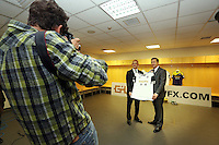 Pictured L-R:  Darren Vickers, Goldenway UK director AND Huw Jenkins,at the official launch of the 2013-2014 Swansea City Football Club kit launch at the Liberty Stadium, Swansea, south Wales. Friday 28th of June 2013