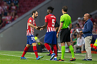 Juanfran Torres of Atletico Madrid retires hurt during the match between Real Madrid v Rayo Vallecano of LaLiga, 2018-2019 season, date 2. Wanda Metropolitano Stadium. Madrid, Spain - 25 August 2018. Mandatory credit: Ana Marcos / PRESSINPHOTO