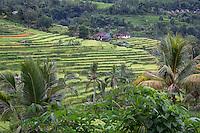 Jatiluwih, Bali, Indonesia.  Terraced Rice Paddies, Village in Distance.