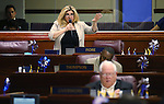 Nevada Assemblywoman Michelle Fiore, R-Las Vegas, speaks on the Assembly floor at the Legislative Building in Carson City, Nev., on Sunday, June 2, 2013. <br /> Photo by Cathleen Allison