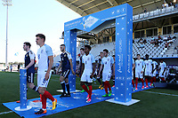 Harvey Barnes proudly walks out onto the pitch for England during England Under-18 vs Scotland Under-20, Toulon Tournament Semi-Final Football at Stade Parsemain on 8th June 2017