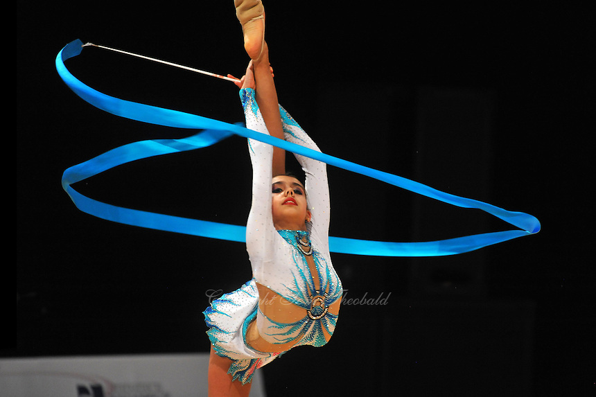 Margarita Mamun of Russia performs with ribbon during AA qualifications at World Cup Montreal on January 29, 2011.  (Photo by Tom Theobald)