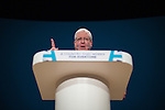 © Joel Goodman - 07973 332324 . 02/10/2016 . Birmingham , UK . PATRICK MCGLOUGHLIN delivers the Chairman's speech during the first day of the Conservative Party Conference at the International Convention Centre in Birmingham . Photo credit : Joel Goodman