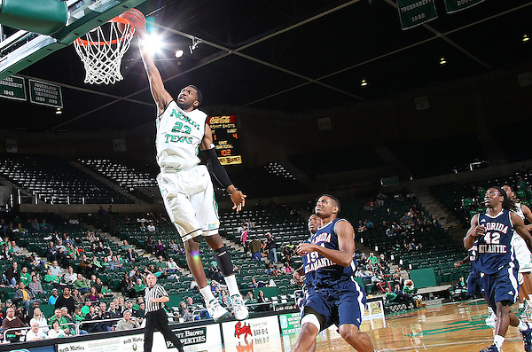 Denton, TX - FEBRUARY 21: Jordan Williams #23 of the North Texas Mean Green in action against the Florida Atlantic Owls at the UNT Coliseum  on February 21, 2013 in Denton, Texas. (Photo by Rick Yeatts)