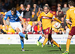 Motherwell v St Johnstone...30.08.14  SPFL<br /> Brian Graham shoots for goal<br /> Picture by Graeme Hart.<br /> Copyright Perthshire Picture Agency<br /> Tel: 01738 623350  Mobile: 07990 594431