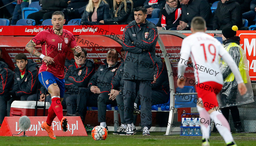 Radovan Curcic Poljska - Srbija prijateljska, Poland - Serbia friendly football match, March 23. 2016. Poznan  (credit image & photo: Pedja Milosavljevic / STARSPORT)