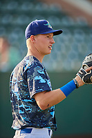 Dillon Paulson (14) of the Ogden Raptors before the game against the Orem Owlz at Lindquist Field on August 3, 2018 in Ogden, Utah. The Raptors defeated the Owlz 9-4. (Stephen Smith/Four Seam Images)