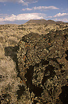 Volcanic cinder cone and lava field in Nevada's Big Sand Spring Valley.