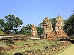 Thai ruins of the Buddist temple of Wat Mahatat in Ayutthayah near Bangkok.