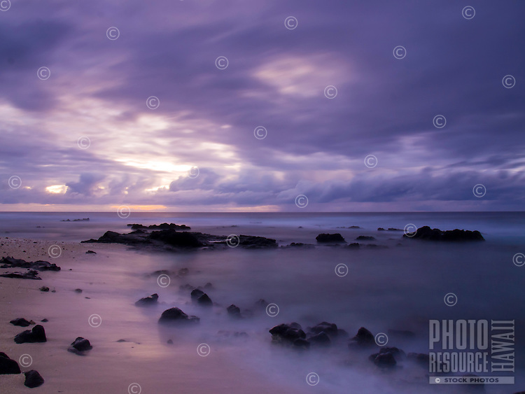 A purple sunset at Pine Trees Beach, Big Island.