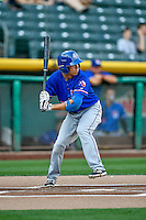 Doug Bernier (7) of the Round Rock Express at bat against the Salt Lake Bees in Pacific Coast League action at Smith's Ballpark on August 13, 2016 in Salt Lake City, Utah. Round Rock defeated Salt Lake 7-3.  (Stephen Smith/Four Seam Images)
