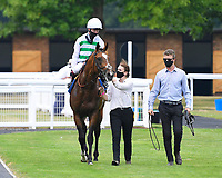 Winner of The Federation Of Bloodstock Agents Novice Stake  Sidereal ridden by Oisin Murphy and trained by Andrew Balding is led into the Winners enclosure during Horse Racing at Salisbury Racecourse on 13th August 2020