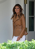 First Lady Melania Trump walks on the Colonnade as she arrives to announce her Initiatives in the Rose Garden of the White House in Washington, DC on Monday, May 7, 2018.<br /> Credit: Ron Sachs / CNP<br /> (RESTRICTION: NO New York or New Jersey Newspapers or newspapers within a 75 mile radius of New York City)