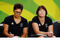 Head Coach Janine Southby and Assistant Coach Yvette McCausland-Durie of New Zealand look on. Gold Coast 2018 Commonwealth Games, Netball, New Zealand Silver Ferns v England, Gold Coast Convention and Exhibition Centre, Gold Coast, Australia. 11 April 2018 © Copyright Photo: Anthony Au-Yeung / www.photosport.nz /SWpix.com