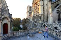 Paris/ Nicolas Géant on the roof of the bishop's palace of the cathedral Notre Dame of Paris. I visit this hive nearly every week during the season to prevent the swarming of the bees. Urban apiculture is gaining momentum and I'm scared that one day beekeeping will be forbidden in Paris. More and more people are setting up hives and few are true beekeepers. During the season, it's problematic: nobody wants to see a swarm of bees landing on their balcony or on their car in the heart of the capital.///Paris/ Nicolas Géant sur le toit de l'évèché de Notre Dame de Paris. Je visite cette ruche presque toutes les semaines pendant la saison pour éviter l'essaimage des abeilles. L'apiculture urbaine connaît une mode importante et j'ai peur qu'un jour l'apiculture soit interdite à Paris. De plus en plus de gens installent des ruches et peu sont réelement apiculteurs. Pendant la saison, c'est problèmatique, personne ne souhaite avoir un essaim d'abeilles posé sur son balcon ou sur sa voiture au cœur de la capitale.