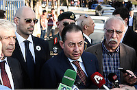 Pictured: Gianni Pittella, Leader of the Progressive Alliance of Socialists and Democrats visits the refugee camp Friday 26 February 2016<br /> Re: Hundreds of refugees have been given temporary shelter at the Stefanakis Army Camp in the Schisto area of Athens, Greece.