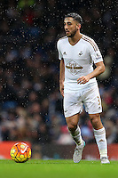 Neil Taylor during the Barclays Premier League Match between Manchester City and Swansea City played at the Etihad Stadium, Manchester on 12th December 2015
