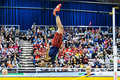 2nd February 2019, Karlsruhe, Germany;  High jump men: Gianmarco Tamberi (ITA) does a somersault, after he had cleared on the third attempt. IAAF Indoor athletics maeeting, Karlsruhe